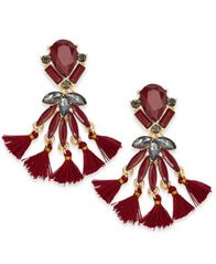 Image of INC International Concepts Gold-Tone Stone & Tassel Drop Earrings, Created for Macy's