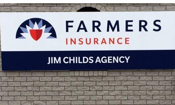 "Sign that reads ""Farmers Insurance - Jim Childs Agency"""