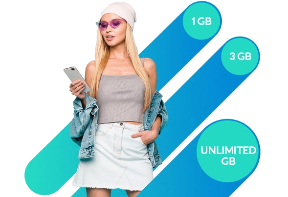 Blond haired woman contemplating Altice Mobile's 1, 3 and unlimited gigabit plans