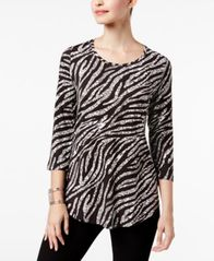 Image of JM Collection Petite Printed Shirttail-Hem Top, Created for Macy's