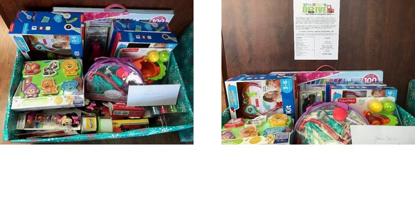 Two photos of colorful toys collected for a toy drive.