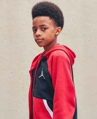 Image of Jordan Big Boys Diamond Colorblocked Zip-Up Hoodie
