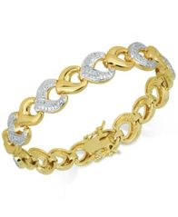 Image of Diamond Accent Open Hearts Link Bracelet in 18k Gold over Fine Silver-Plate