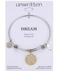 "Image of Unwritten Two-Tone ""Never Stop Looking Up"" Glitter Bangle Bracelet in Gold-Tone & Stainless Steel"