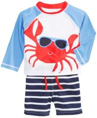 Image of First Impressions 2-Pc. Crab Rash Guard & Swim Trunks Set, Baby Boys, Created for Macy's