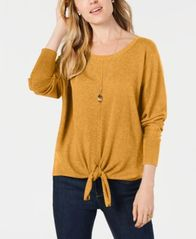 Image of Style & Co Tie-Hem Sweater, Created for Macy's
