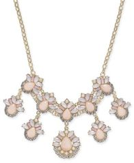 "Image of I.N.C. Gold-Tone Stone & Crystal Teardrop Statement Necklace, 18"" + 3"" extender, Created for Macy's"