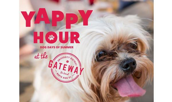 "Promotional photo with a puppy sticking its tongue out, it reads ""YAPPY HOUR"""