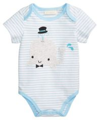 Image of First Impressions Striped Whale Bodysuit, Baby Boys, Created for Macy's
