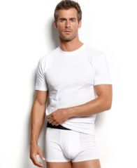Image of alfani men's underwear, tagless crew neck Undershirt 4 pack