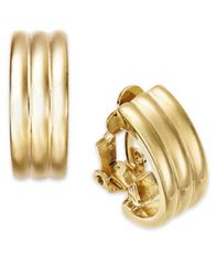 Image of Lauren Ralph Lauren Gold-Tone Ribbed Hoop Clip-On Earrings