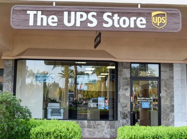 front of the ups store at 2037 W Bullard Ave