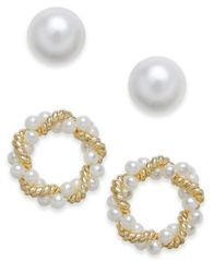 Image of Charter Club Gold-Tone 2-Pc. Set Imitation Pearl & Twisted Wreath Stud Earrings, Created for Macy's