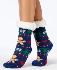 Image of Charter Club Women's Holiday Slipper Socks,with Fleece & Grippers, Created for Macy's