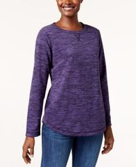 Image of Karen Scott Fleece Crew-Neck Sweatshirt, Created for Macy's