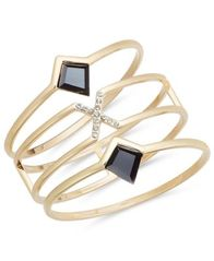 Image of INC International Concepts Gold-Tone 3-Pc. Set Pavé & Jet Stone Bangle Bracelets, Created for Macy's