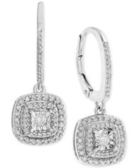 Image of Diamond Halo Drop Earrings (1/2 ct. t.w.) in Sterling Silver