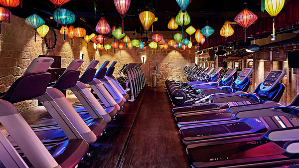 Rows of Treadmills in the interior of a McFit location underneath an arrangement of blue, green, orange and red paper lanterns.
