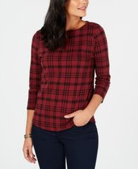 Image of Charter Club Petite Button-Shoulder Print Top, Created for Macy's