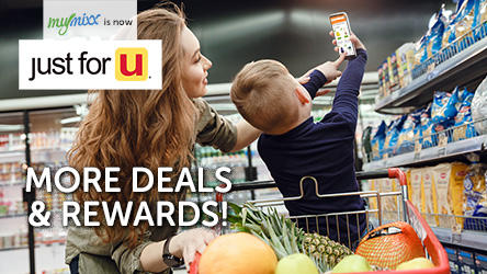 Woman and boy grocery shopping using the just for U app.