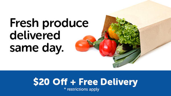 "Bag of Produce.  ""Fresh produce delivered same day. $20 off + free delivery. Restrictions apply."""