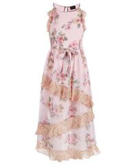 Image of Pink & Violet Big Girls Ruffled Floral-Print Maxi Dress