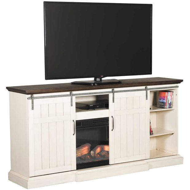 Image of CABARET MEDIA FIREPLACE IN VINTAGE WHITE