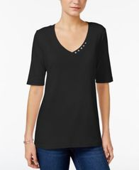 Image of Karen Scott Elbow-Sleeve Top, Created for Macy's