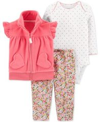 Image of Carter's Baby Girls 3-Pc. Fleece Vest, Bodysuit & Leggings Set