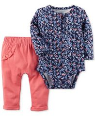 Image of Carter's 2-Pc. Cotton Floral-Print Bodysuit & Ruffled Pants Set, Baby Girls (0-24 months)