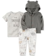 Image of Carter's 3-Pc. Cotton Hoodie, Snuggle T-Shirt & Jogger Pants Set, Baby Boys & Girls