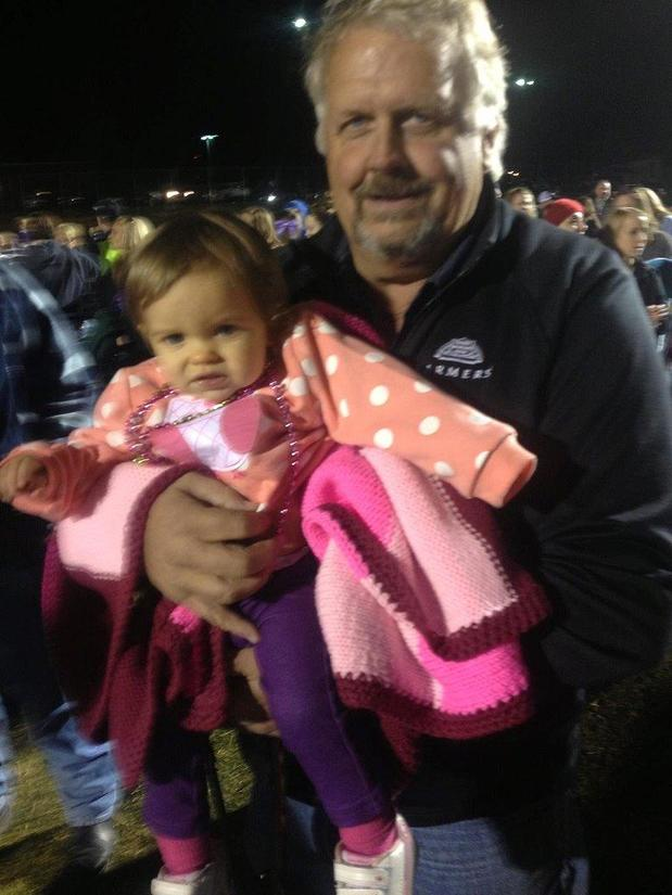 Me and my granddaughter Evalynn at the football game!