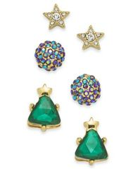 Image of Holiday Lane Gold-Tone 3-Pc. Set Crystal Star, Ball & Tree Stud Earrings, Created for Macy's