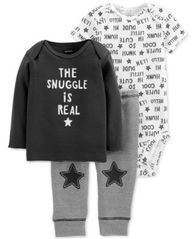 Image of Carter's Baby Boys 3-Pc. Cotton Snuggle T-Shirt, Bodysuit & Pants Set