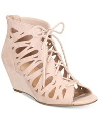 Image of Material Girl Harlie Lace Up Wedge Sandals, Created for Macy's