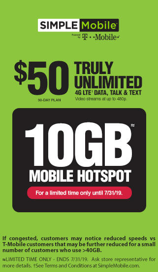 Truly Unlimited 4G LTE Data, Talk & Text Plus 10GB of Mobile Hotspot - $50 30-Day Plan with SIMPLE Mobile