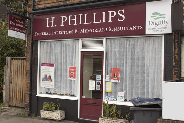 H Phillips Funeral Directors in Mill Hill, London.