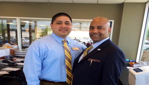 Ralph Payne with Robert Valderas Director at Jim Norton Toyota Tulsa, Oklahoma.