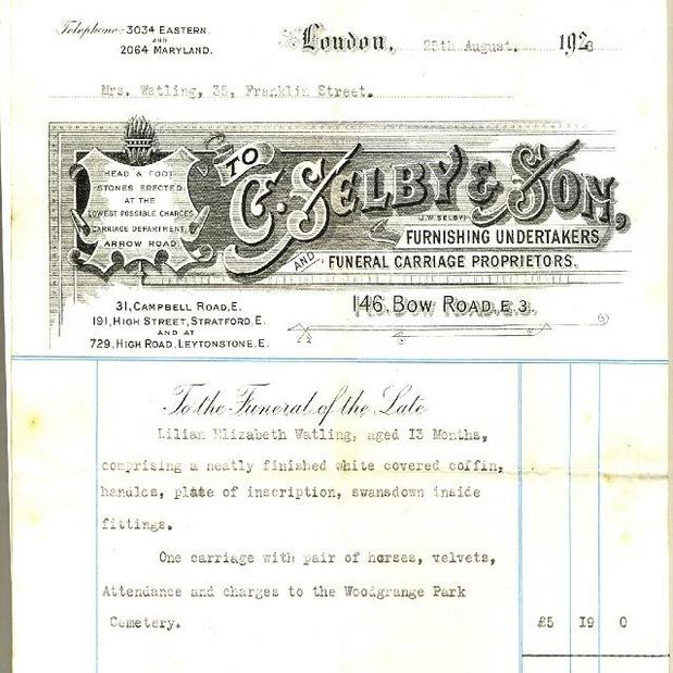 C Selby Funeral Directors old letterhead