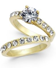 Image of Charter Club Gold-Tone 2-Pc. Set Cubic Zirconia Rings, Created for Macy's