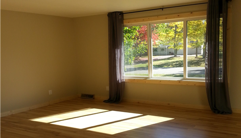 Empty room with sunlight pouring in