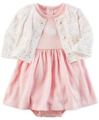Image of Carter's 2-Pc. Cardigan & Bunny Bodysuit-Dress Set, Baby Girls