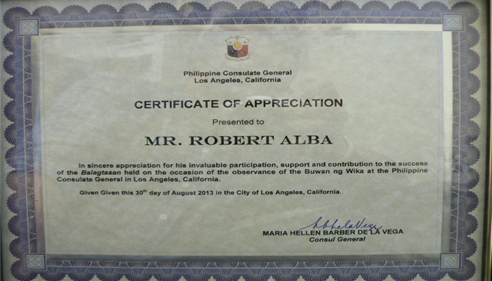 Certificate of Appreciation from the Philippine Consulate General..